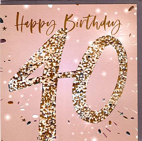Belly Button Designs - Biglietto di auguri per il 40° compleanno Salmone d'oro