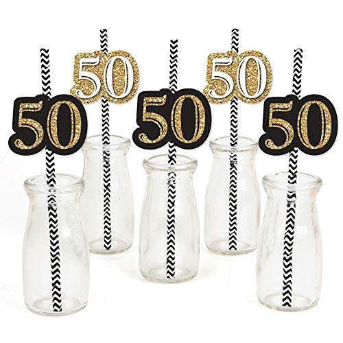 Big Dot of Happiness Adult 50th Birthday - Gold - Paper Straw Decor - Birthday Party Striped Decorative Straws - Set of 24