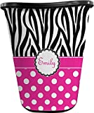 RNK Shops Zebra Print & Polka Dots Waste Basket - Single Sided (Black) (Personalized)