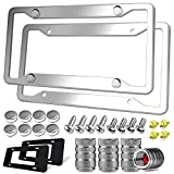 Stainless Steel License Plate Frame- Heavy Duty Metal Front & Rear Car Tag Cover, 2 Pack Rust Proof Mirror Polish Holder, with Mounting Hardware Kit- Screws Bolts, Chrome Caps, Anti Rattle Pads