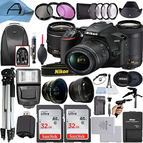 Nikon D3500 DSLR Camera 24.2MP with NIKKOR 18-55mm VR and 70-300mm Dual Lens, 2 Pack SanDisk 32GB Memory Card, Backpack, Tripod, Slave Flash Light and A-Cell Accessory Bundle (Black)