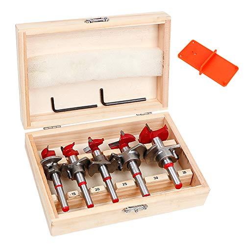 Forstner Bit Set, UHAPEER 5-Piece Carbide Forstner Drill Bits for Woodworking, Adjustable Depth Stop in Wooden Case