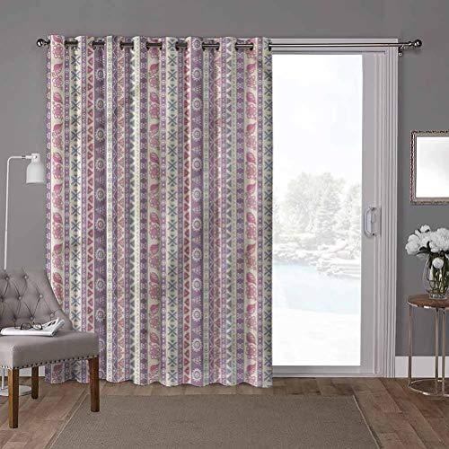 YUAZHOQI cortinas aisladas para puerta corredera, a rayas, hojas florales antiguas, 100 x 84 pulgadas de ancho persianas verticales para puerta de honda (1 panel)