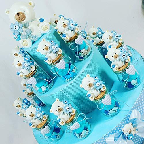 Sindy Bomboniere VASETTI per Confetti Nascita Bimbo E Battesimo Prezzi ECONOMICI con confettini, Marshmallow e zuccherini (Torta Completa)