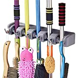 QOZWEID® Mop and Broom Holder; Upgraded with Effective Strong Holding 5 Slot Position with 6 Hooks Garage Storage up to 11 Tools Wall Mounted; Organize Ideas; Standard Size