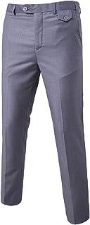 MISSMAO Mens Trousers Formal Casual Business Office Work Home Belted Smart Dress Straight Leg Flat Front Everpress Pockets...
