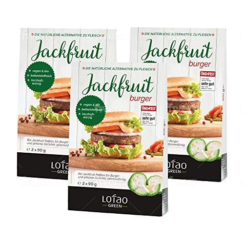 LOTAO Jackfrucht Burger pfannenfertig als vegane Pattys   hochwertige Bio Fleischalternative   2 x 90 g x3 Stück