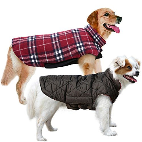 MIGOHI Dog Jackets for Winter Windproof Waterproof Reversible Dog Coat for Cold Weather British Style Plaid Warm Dog Vest for Small Medium Large Dogs RED M