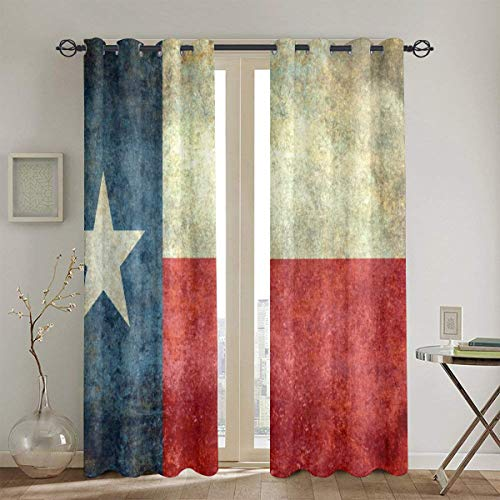 Lichenran The Lone Star Flag of The Great Lone Star State - Texas, Juego de Cortinas de Ventana de 2 Paneles, 104in x84in (260cm x210cm)