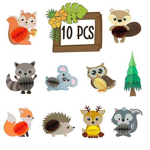 Giftable Things 10 PCS Woodland Animals Honeycomb Centerpieces 3D Table Decorations for Party Favors Honeycomb Animals for Baby Shower - Birthday - Woodland Themed Party Decorations