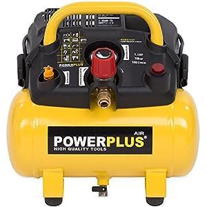 51o6qXwCS4L. SS300  - POWERPLUS POWX1721 Compresor 1100W 6L Sin Aceite, 1100 W, 230 V, Amarillo, X1721 (6 Liter)