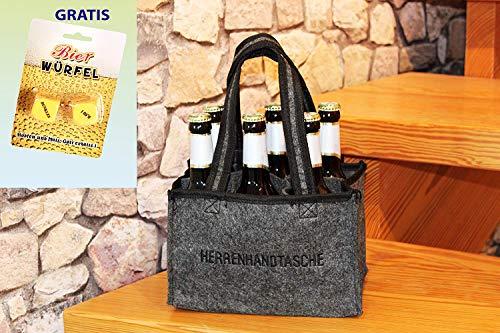 Kamaca ® HERRENHANDTASCHE für 6 Bierflaschen Flaschenträger Flaschenkorb aus Filz inklusive lustigem BIERWÜRFEL Partyspiel Trinkspiel (Herrenhandtasche + Bierwürfel Partyspiel)