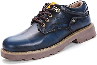 PengCheng Pang Men's Business Oxford Casual New Fashionable Breathable OX Leather Meets Outsole Lace up Leisure Shoes (Color : Blue, Size : 8 UK)