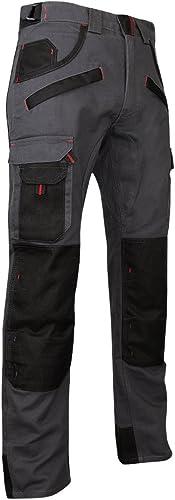 LMA 1261 ARGILE Pantalon avec Poches Genouillères, Gris Nuit/Noir, Taille 42