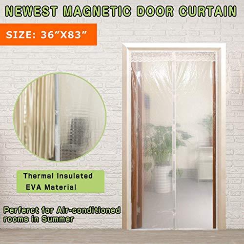 Cortina de invierno transparente, protector de puerta magnético con aislante térmico, cortina para...