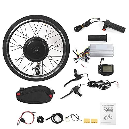 LIXFDJ Motor eléctrico de bicicleta de rueda delantera de 26 pulgadas, rueda delantera del motor potente con indicador LCD pantalla accesorio de bicicleta eléctrica