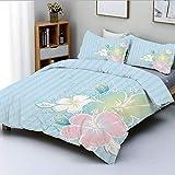 Juego de funda nórdica, ramo de flores de hibisco sobre fondo con forro vertical Estampado en color suave Juego de cama decorativo de 3 piezas con 2 fundas de almohada, azul pálido rosa pálido, el mej