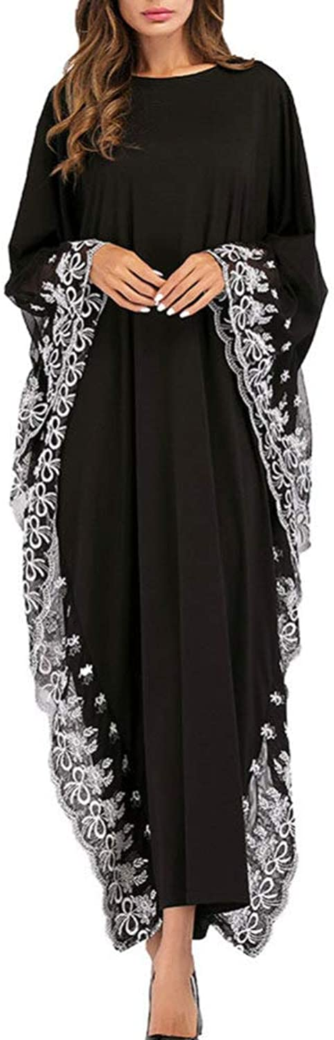 QINJLI Embroidered Dress, bat Sleeves Muslim Robes Large Size Women Length 130 Sleeve Length 50
