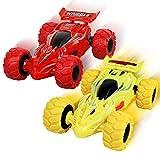 Shayson 2 Unidades de Camiones Monstruo de Fricción, Regalos de Coches de Juguete para Niños Mayores de 3 Años con Rotación de 360 ° Camión Monstruo para Niños y Niñas(Rojo, Amarillo)