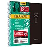 KAISA Spiral Notebook, 3 Subject 120Sheets, Column Lined Paper, College Ruled 8.5'x11', Perforated Paper Wirebound Note Book (1pc, Green), S05699