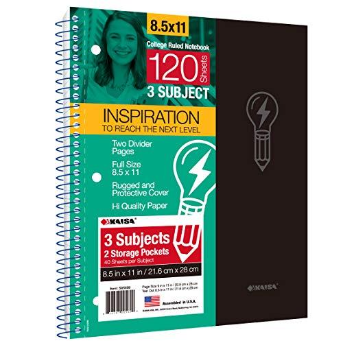 Kaisa Premium Notizbuch, Poly-Taschen, 21,6 x 27,9 cm, 9/32 Zoll, College-Lineal, 3-fach gelocht, Spiral-Notizbuch 1pc 3Sub-Grün