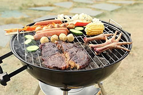 EU-AIRBIN Barbacoa de carbón vegetal, 14 pulgadas, portátil, parrilla de carbón vegetal con tapa, adecuada para jardín, exterior, picnic, color negro, 14,4 x 14,4 x 14,6 pulgadas