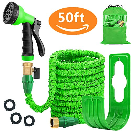 Liwiner Expandable Garden Hose Pipe - Lightweight,Durable& Felxible -Bonus 8 Function Spray Gun/Hose Hanger/Storage Bag/Brass Fittings,Best Choice for Watering and Washing (50FT-Green)