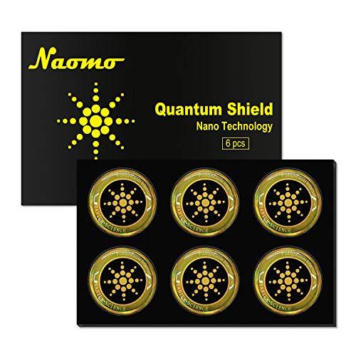 Naomo Autocollant Anti Radiations pour Téléphone Portable, QuantumBouclier, EMF Bloqueur pour Tous Les Appareils Électroniques (6 Pcs, Or)