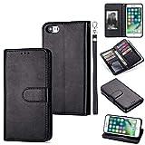 DEFBSC iPhone 6 Plus/iPhone 6s Plus Handyhülle, Magnetisch Premium Leder Flip Schutzhülle mit Kartenfach, Schlanke Brieftasche Hülle Handytasche Lederhülle für iPhone 6 Plus/iPhone 6s Plus- Schwarz
