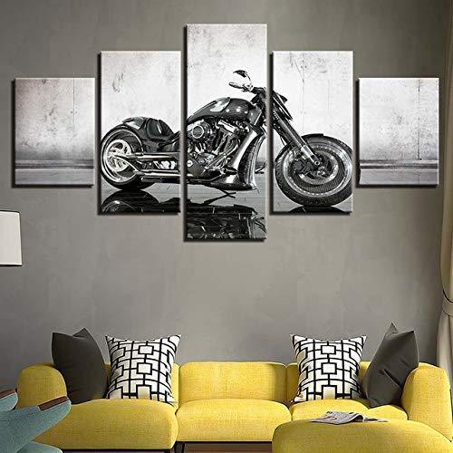 ZSMD Modular Pictures HD-Druckrahmen 5 Stück Motorrad Sportwagen Home Hintergrund Wohnzimmer Wandfarbe 100 x 55 cm Rahmen Pflaume