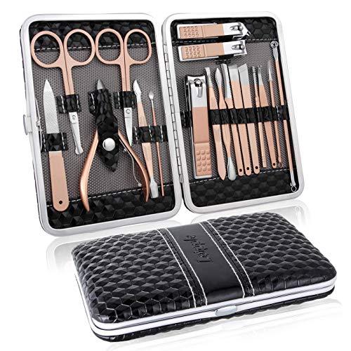 Manicura Pedicura Set 18 PCS Profesional Cortaúñas Acero Inoxidable Grooming Kit - Con Estuche De Viaje De Cuero Lujoso(Negro)