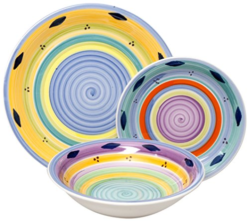 Excelsa Esprit Servizio Piatti, Ceramica, Multicolore, 18 Pezzi