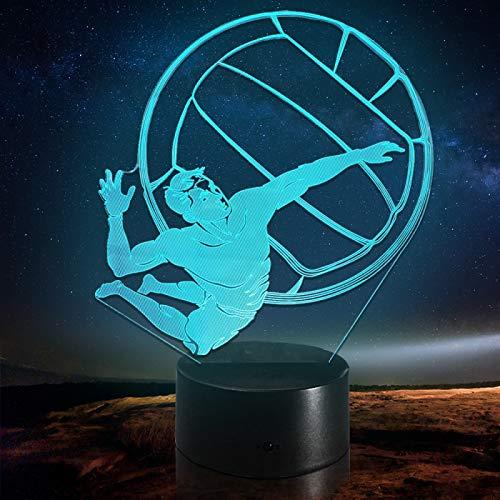 Lámpara de ilusión óptica LED con pico de voleibol para hombre con luz nocturna 3D, Regalo para niña, Lámpara de escritorio, Regalo de cumpleaños, G - Control de Telefonía Móvil