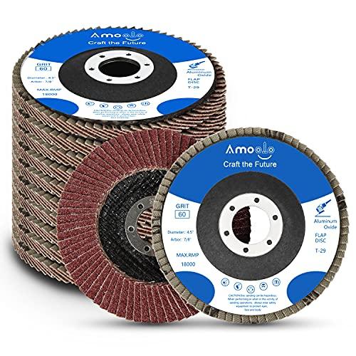 amoolo 4.5 Inch Flap Discs, 10PCS-60 Grit Angle Grinder Sanding Discs, High...