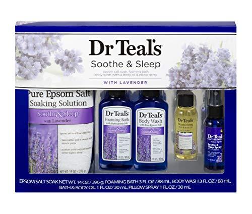 Dr Teal's Lavender Soothe & Sleep Full Regimen 5-piece Gift Set (Epsom Salt Soaking Solution, Foaming Bath, Body Wash, Moisturizing Bath & Body Oil, Pillow Spray)