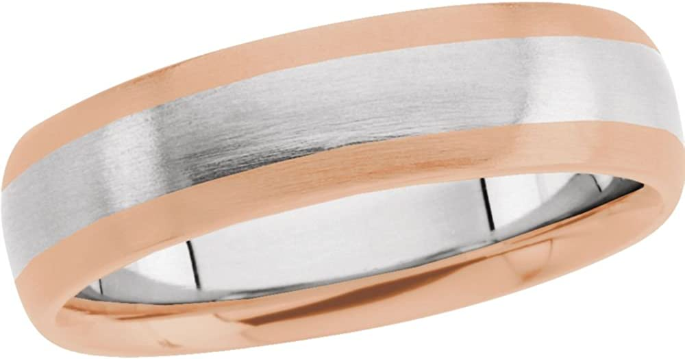 Jewels By Lux 14K White & Rose 6mm Design Wedding Ring Band Size 9.5