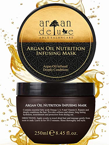 Argan Deluxe Haarmaske in Friseur-Qualität 250 ml - Haarkur mit Arganöl zur intensiven Pflege - für Geschmeidigkeit & Glanz - Effektive Haarpflege für trockenes, strapaziertes & geschädigtes Haar