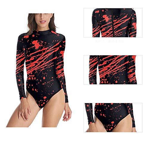 CYYMY Damen Sexy Bodysuit Kostüm 3D Blut Print Halloween Einstellen Anzieh Bühnenanzug Catsuit Partykleidung Cosplay Jumpsuit Clubwear,S/M