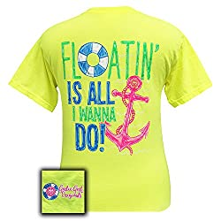 Girlie Girl Originals Floatin' Is All I Want To Do Neon Yellow T-Shirt