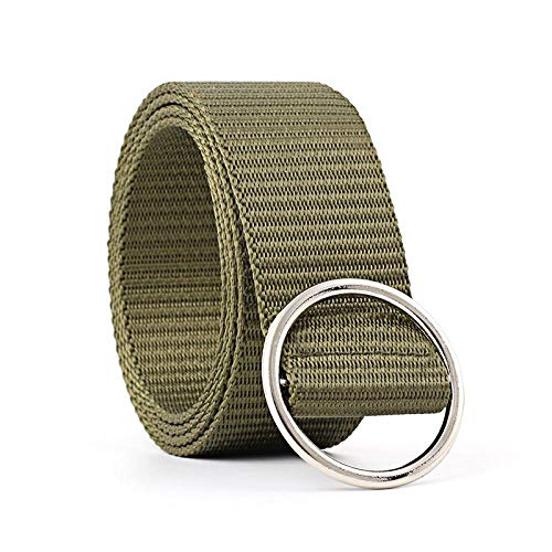 Canvas Casual Women Belts Men Solid Color Teens Fashion Ladies Waist Strap Jeans Round Buckle Female Waist Belts Waistband Green