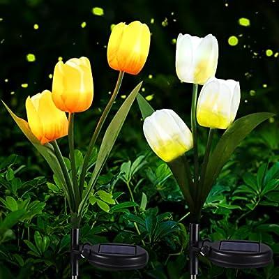 Solar Lights Outdoor Decorative, 2 Pack Tulip Solar Garden Lights, Used for Garden Lawn Backyard Terrace, Automatic Working Decorative Solar Flower Lights