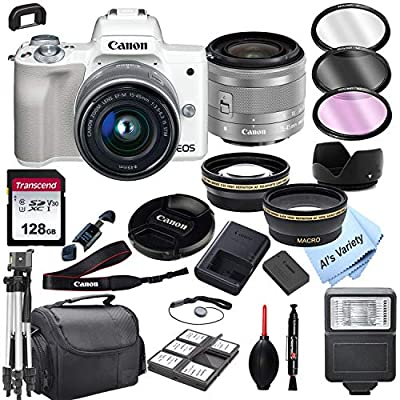 Canon EOS M50 (White) Mirrorless Digital Camera with 15-45mm Zoom Lens Lens + 128GB Card, Tripod, Case, and More (24pc Bundle) from Al's Variety-Canon Intl.