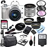Canon EOS M50 (White) Mirrorless Digital Camera with 15-45mm Zoom Lens Lens + 128GB Card, Tripod, Case, and More (24pc Bundle)