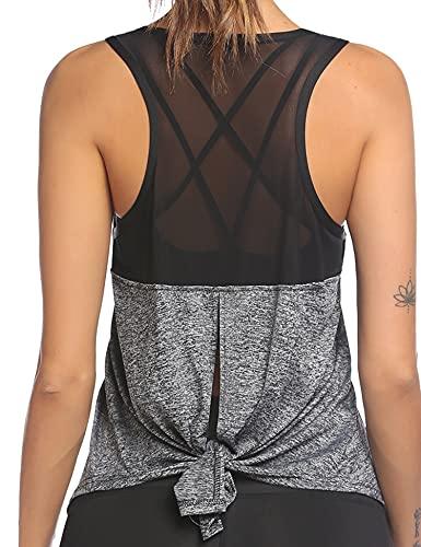 Ekouaer Camiseta deportiva de tirantes para mujer con espalda cruzada, para yoga, fitness, deporte, gris oscuro, XXL