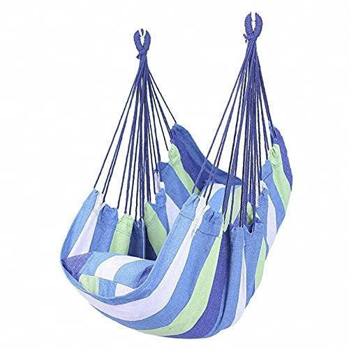 dyn Hammock Chair Hanging Rope Swing Seat,hammock Chair Max 331 Lbs, Include 1cushions, Quality Canvas Swing Chair for Indoor & Outdoo (Color : Blue and white bars)