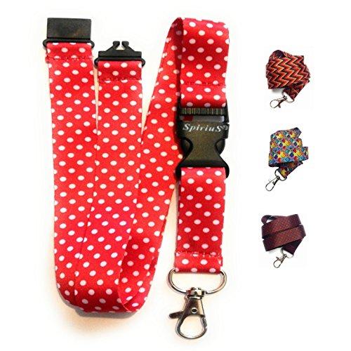Spirius Schouderband voor ID-kaarthouder/sleutelhanger, met metalen clip, 1Q rood met stippen