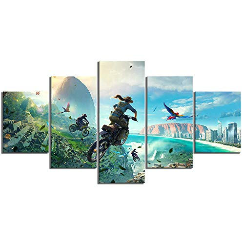Myrdsio Multi Panel Wall Art 5 Piece Print On Canvas Pictures Trials Rising Video Game Poster Cartoon Motorcycle Art Print Images Modern Home Decoration 150×80Cm Wallpaper (Completely Framed)