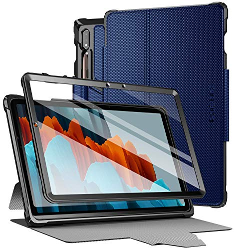 Poetic Explorer for Samsung Galaxy Tab S7 Tablet Case, 11 inch SM-T870/T875/T878, Full Body Triple Layers Tough 360 Degree Stand Smart Cover with Built-in Screen Protector and S Pen Holder, Navy Blue