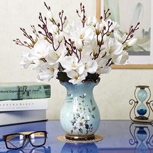 Vase Moderne Porzellan Keramik Vase + Künstliche Blume Set Ornament Dekoration Handwerk Home Couchtisch Gefälschte Blumen Topffiguren Stil22
