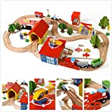 WINIAER Juego de juguetes de tren, 8 formas de palabra, anillo de pista de madera para coche, rompecabezas de tren pequeño, juguete educativo para niños mayores de 3 años (69 piezas)